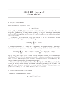 IEOR 265 – Lecture 9 Other Models 1 Single-Index Model