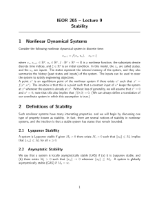 IEOR 265 – Lecture 9 Stability 1 Nonlinear Dynamical Systems