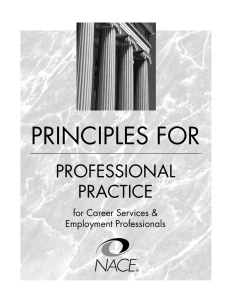PrinciPles FOr PrOFessiOnal Practice