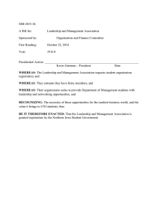 SSB 2015-36 A Bill for:  Leadership and Management Association