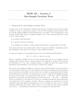 IEOR 165 – Lecture 3 One-Sample Location Tests