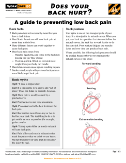 Does your back hurt? ! A guide to preventing low back pain