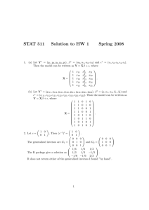 STAT 511 Solution to HW 1 Spring 2008 1. (a) Let Y