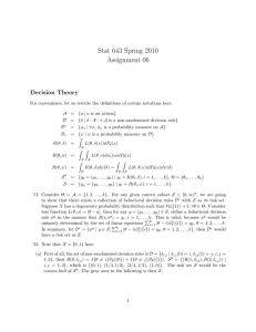 Stat 643 Spring 2010 Assignment 06 Decision Theory