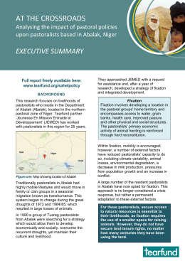 AT THE CROSSROADS EXECUTIVE SUMMARY  Analysing the impact of pastoral policies