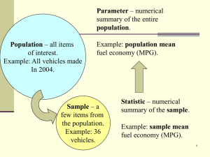 Parameter population Population summary of the entire