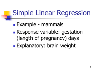 Simple Linear Regression Example - mammals Response variable: gestation (length of pregnancy) days