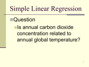 Simple Linear Regression Question Is annual carbon dioxide concentration related to