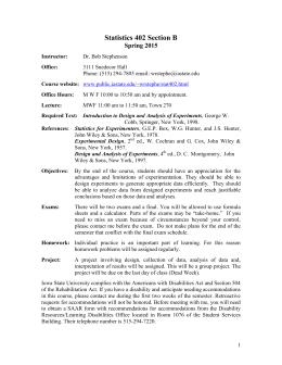 Statistics 402 Section B Spring 2015