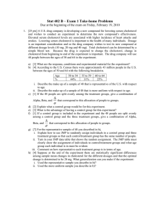 Stat 402 B – Exam 1 Take-home Problems