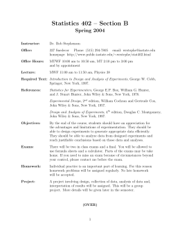Statistics 402 Section B Spring 2004