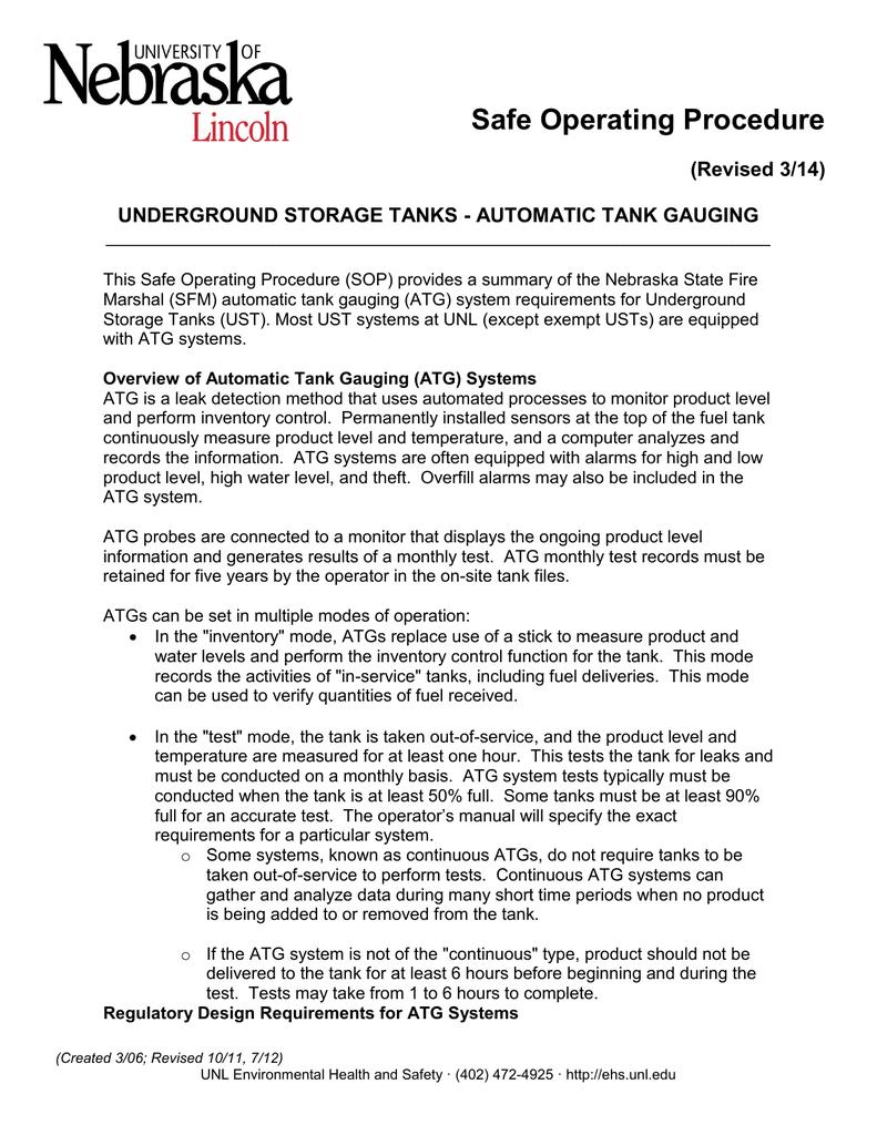 Safe Operating Procedure (Revised 3/14) UNDERGROUND STORAGE TANKS