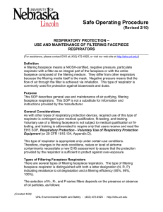 Safe Operating Procedure (Revised 2/10)  RESPIRATORY PROTECTION –