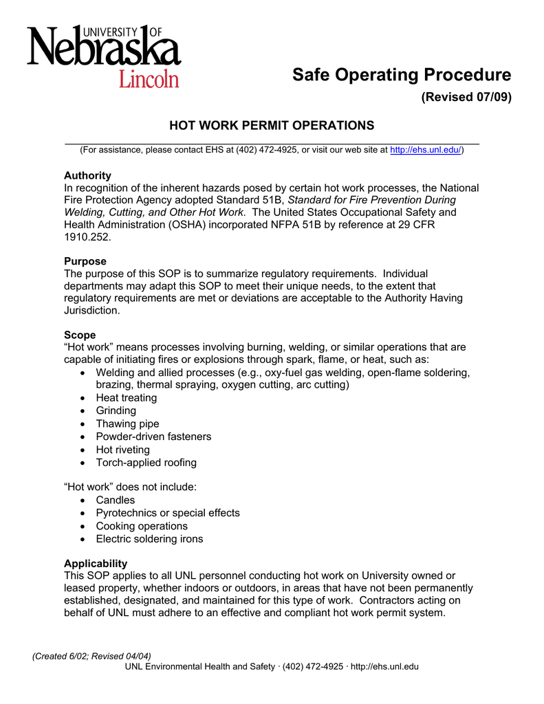 Safe Operating Procedure (Revised 07/09) HOT WORK PERMIT
