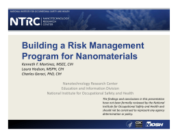 Building a Risk Management Program for Nanomaterials