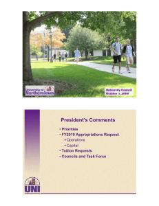 President's Comments Priorities FY2010 Appropriations Request