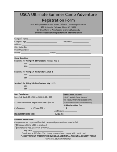 USCA Ultimate Summer Camp Adventure Registration Form
