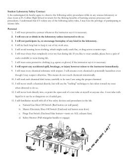 PPS Lab Safety Contract - Portland Public Schools
