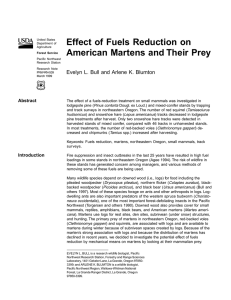 Effect of Fuels Reduction on American Martens and Their Prey