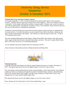 University Dining Service Newsletter October & November 2012