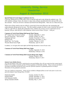 University Dining Service Newsletter August & September 2012