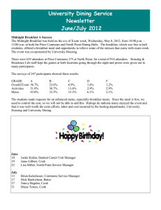 University Dining Service Newsletter  June/July 2012
