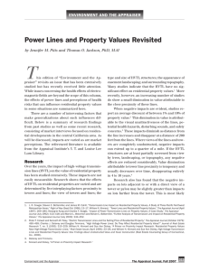 T power Lines and property values revisited environment and the appraiser