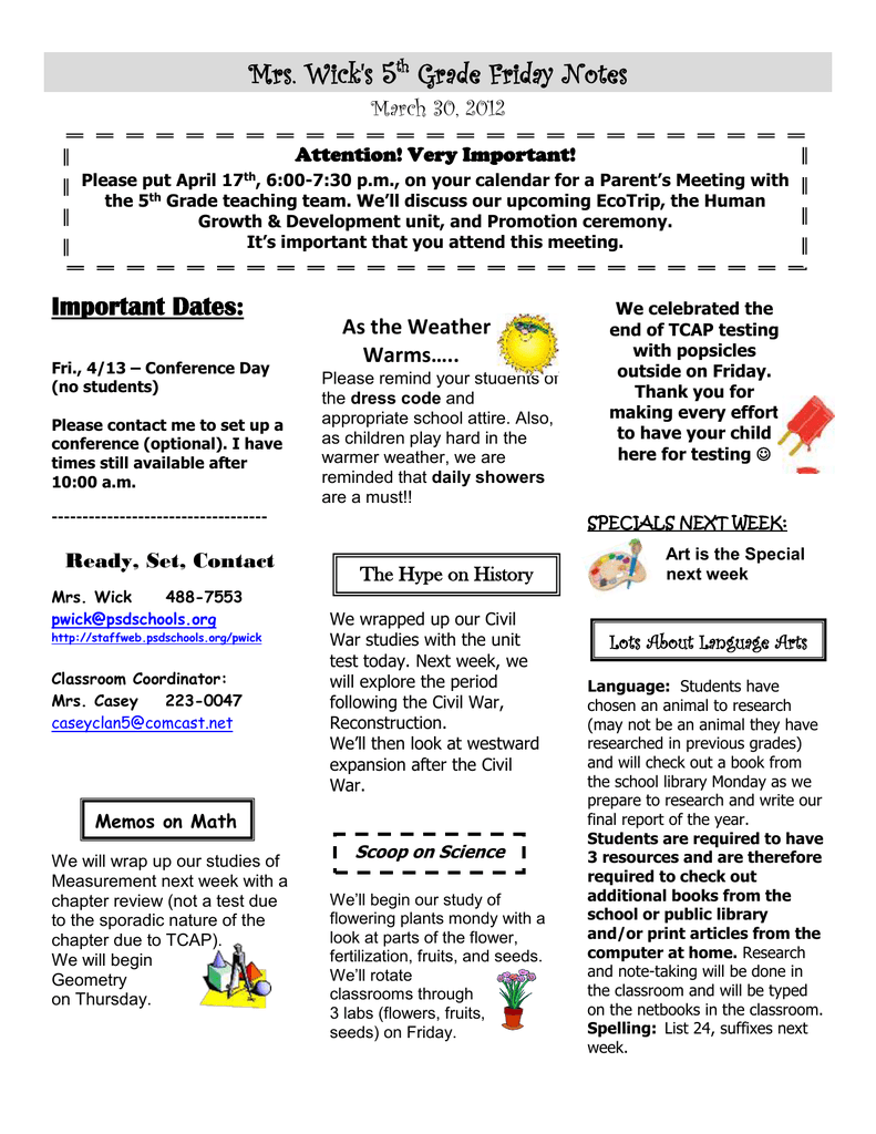 Mrs  Wick's 5 Grade Friday Notes Important Dates: