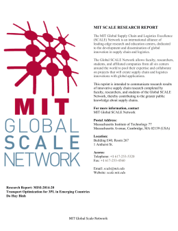 MIT SCALE RESEARCH REPORT