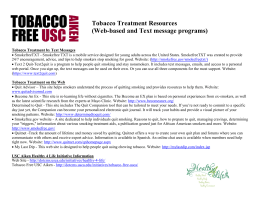 Tobacco Treatment Resources (Web-based and Text message programs)