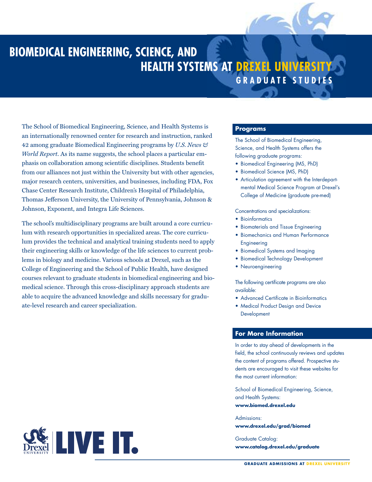 BIOMEDICAL ENGINEERING, SCIENCE, AND HEALTH SYSTEMS AT