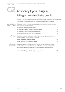 G2 Advocacy Cycle Stage 4 Taking action – Mobilising people SECTION