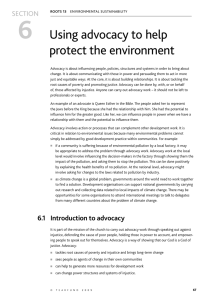 6 Using advocacy to help protect the environment SECTION