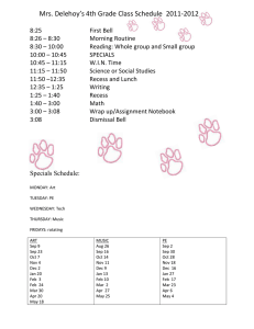 Mrs. Delehoy's 4th Grade Class Schedule  2011-2012