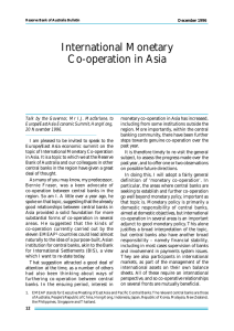 International Monetary Co-operation in Asia