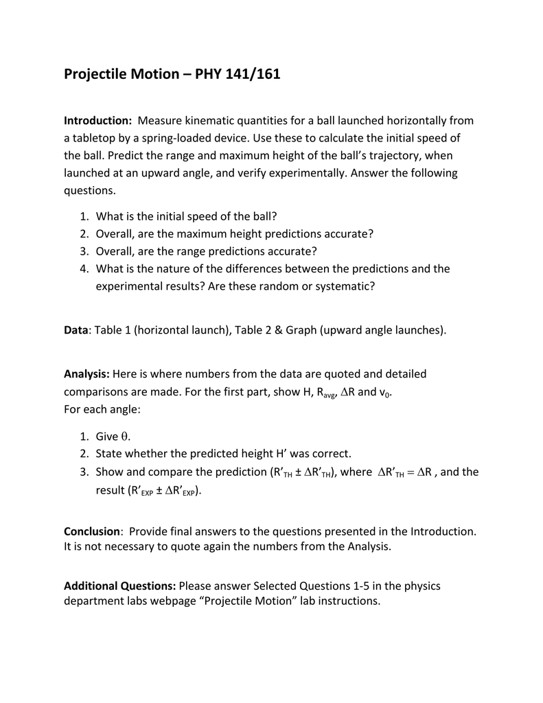 Worksheets Projectile Motion Worksheet With Answers projectile motion phy 141161