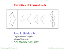 Jose L Balduz Jr Varieties of Causal Sets APS Meeting April 2007