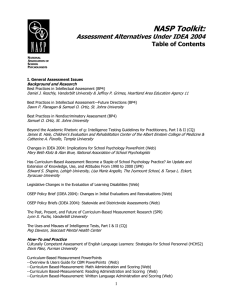 NASP Toolkit: Assessment Alternatives Under IDEA 2004 Table of Contents