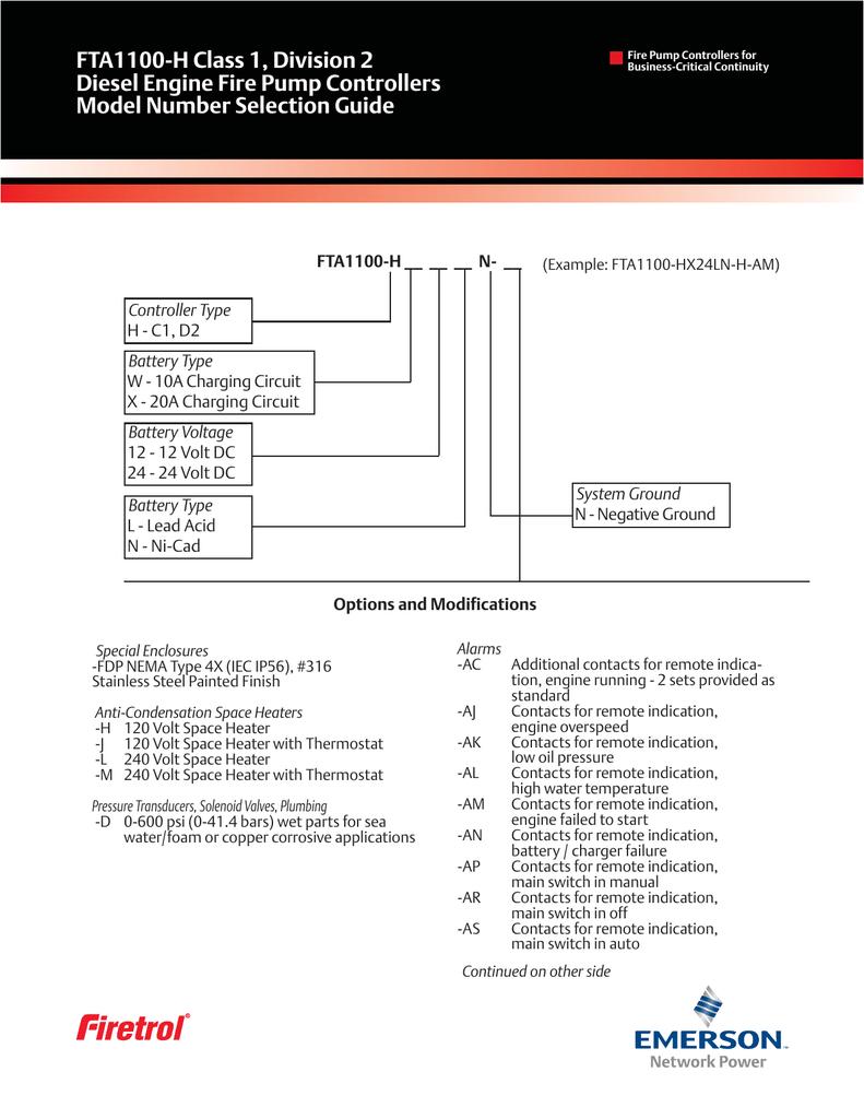 Fta1100 H Class 1 Division 2 Diesel Engine Fire Pump Controllers 24 Volt Dc Battery Circuit Diagram