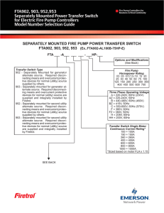 FTA902, 903, 952,953 Separately Mounted Power Transfer Switch Model Number Selection Guide
