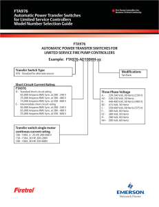 FTA976 Automatic Power Transfer Switches for Limited Service Controllers Model Number Selection Guide
