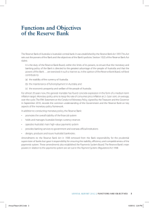 Functions and objectives of the Reserve Bank