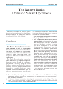 The Reserve Bank's Domestic Market Operations