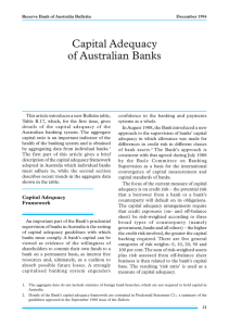 Capital Adequacy of Australian Banks