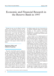 Economic and Financial Research in the Reserve Bank in 1997
