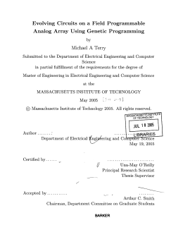 Evolving  Circuits  on  a  Field ... Analog  Array Using  Genetic  Programming A
