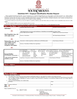 Substitute W-9 : Taxpayer Identification Number Request