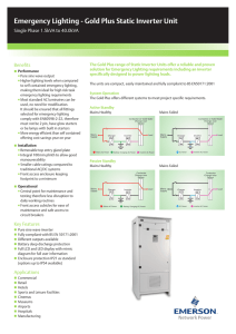 Emergency Lighting - Gold Plus Static Inverter Unit Benefits