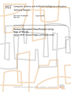 Human Document Classification Using Bags of Words Technical Report