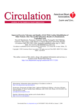 Improved Exercise Tolerance and Quality of Life With Cardiac Rehabilitation... Older Patients After Myocardial Infarction: Results of a Randomized,